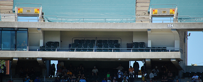 Seats within the Oakland Coliseum's Press Level