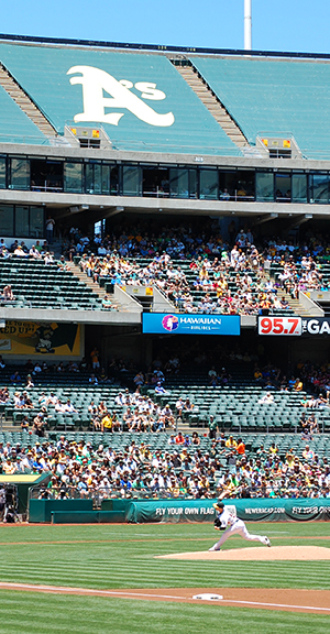 Upper deck tarped at the Oakland Coliseum