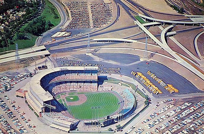 County Stadium with adjacent freeways
