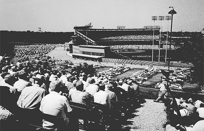 County Stadium view from the adjacent VA facility