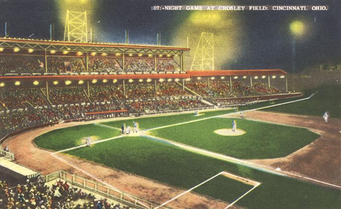 Crosley Field 1935 Postcard—First Night Game
