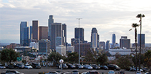 View of Downtown Los Angeles from Upper Level of Dodger Stadium