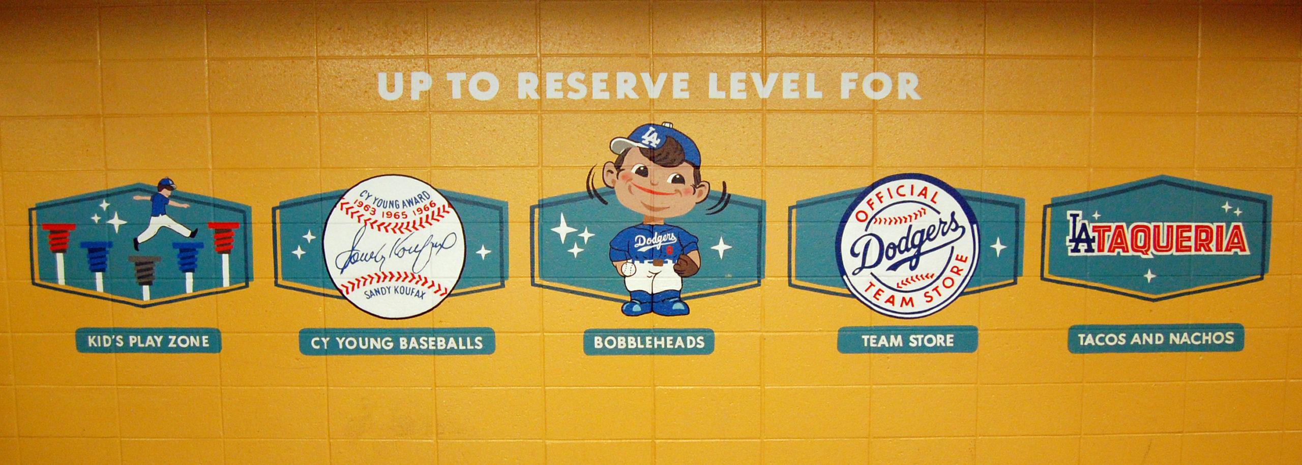 Retro wayfinding signage at Dodger Stadium