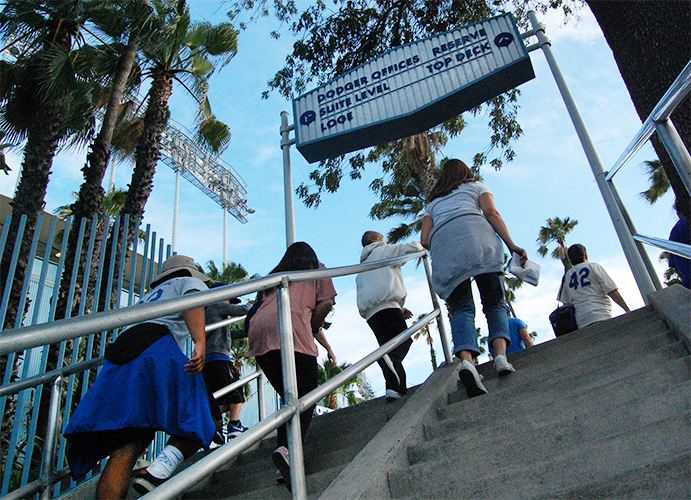 Endless stairways outside of Dodger Stadium