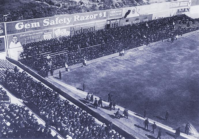 Left field corner at Ebbets Field, 1920