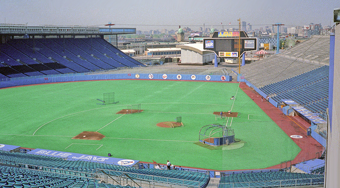 Exhibition Stadium, looking down right-field line