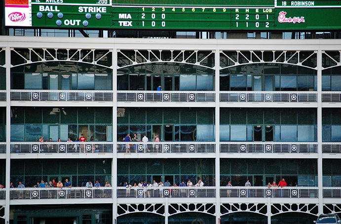 Globe Life Park Office Spaces behind center field
