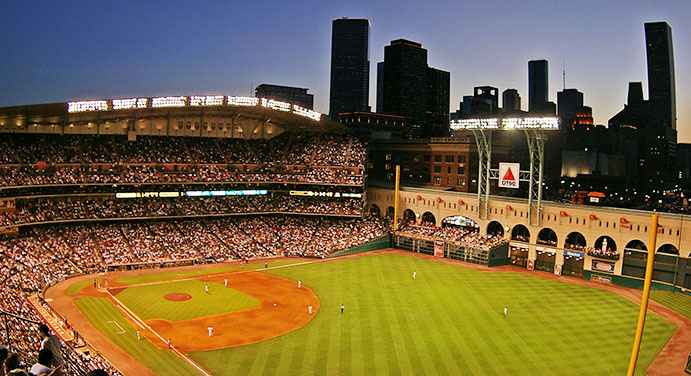 Minute Maid Park with roof open