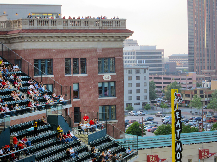 Fans enjoying action from roof of Union Station