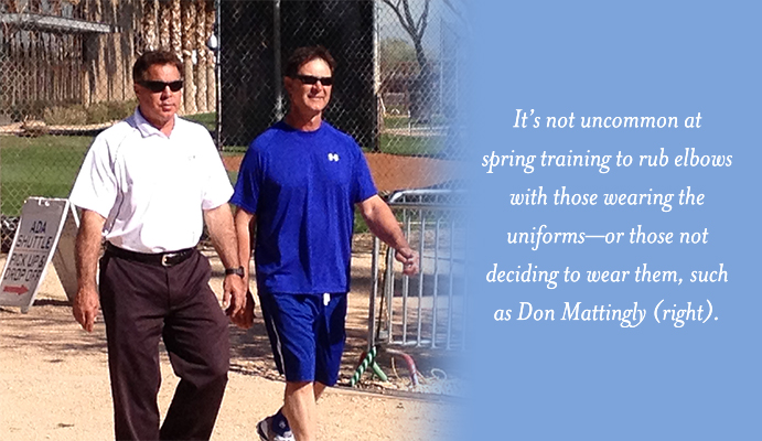 Don Mattingly strolls past spring training fans