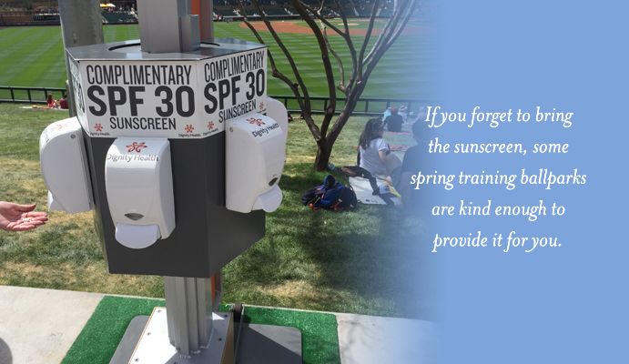 Free sunscreen available at spring training ballparks