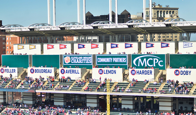 Upper right field bleachers at Progressive Field