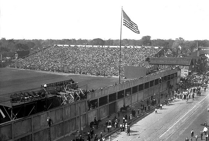 Left field bleachers at Navin Field, 1934