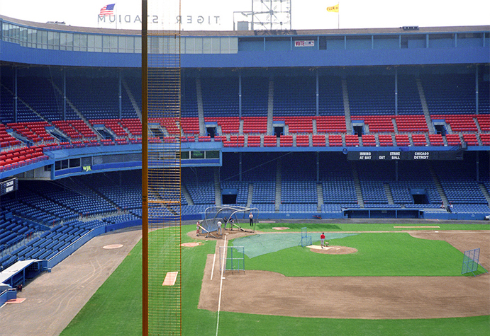 Tiger Stadium, facing toward home plate from right field bleachers
