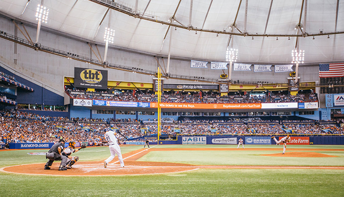 Looking down left field line at Tropicana Field