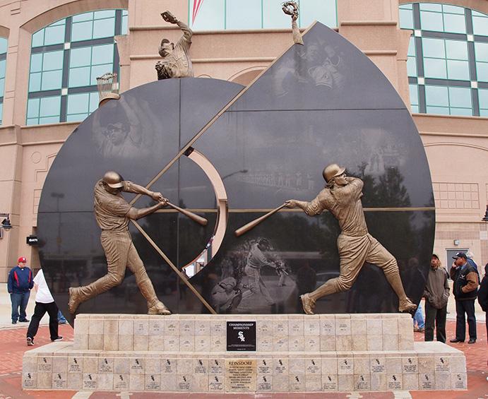 Sculpture dedicating 2005 champion Chicago White Sox