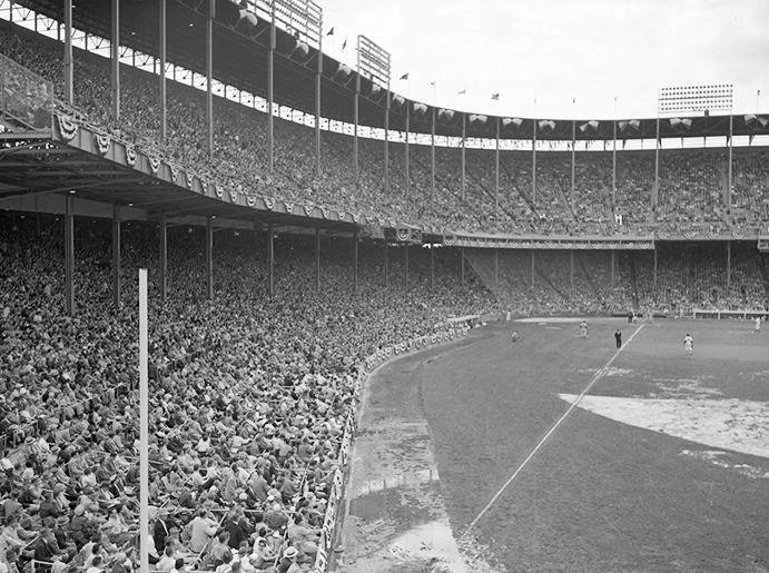 First major league game at Kansas City's Municipal Stadium, 1955